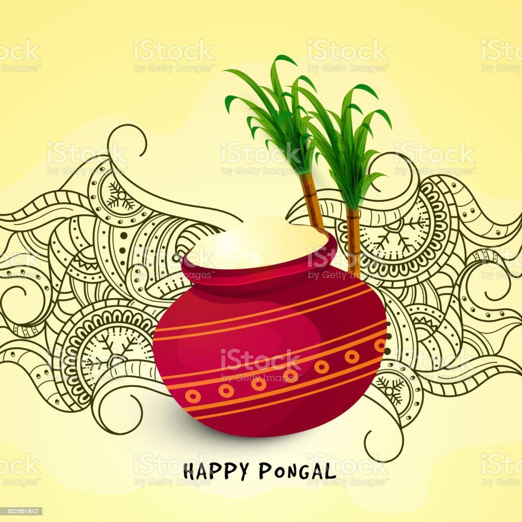 Traditional mud pot with sugarcane for Pongal celebration. vector art illustration