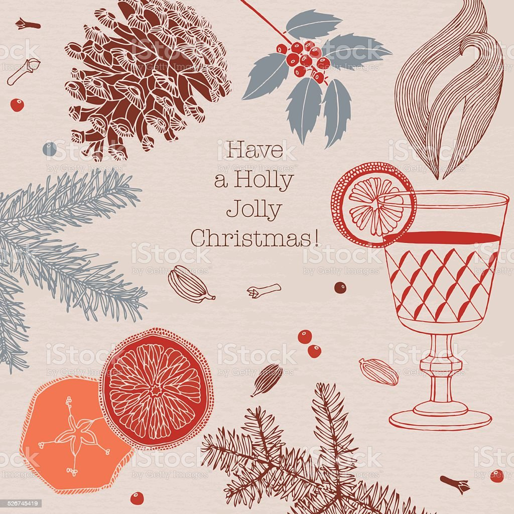 Traditional mulled wine with spices. Christmas card. vector art illustration
