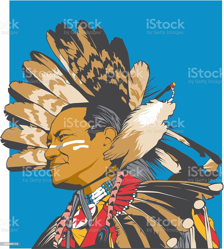 Traditional Native American Man royalty-free stock vector art