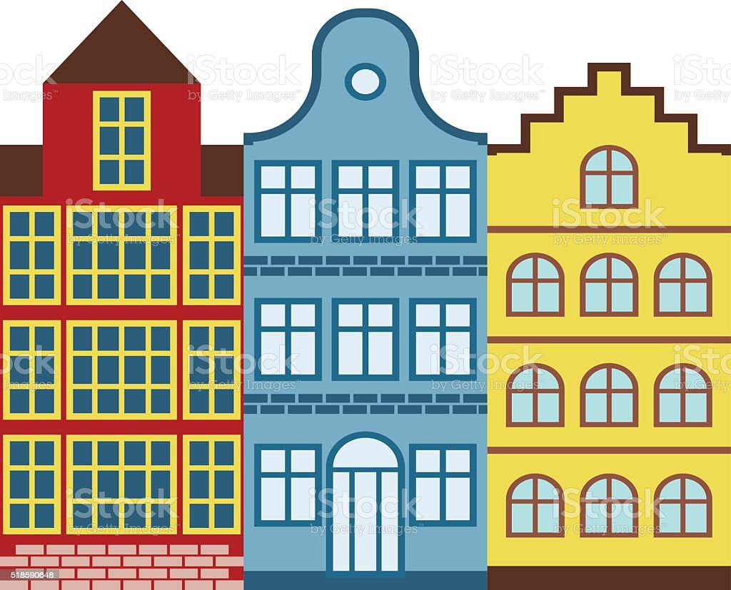 Traditional old buildings Amsterdam house netherlands architecture traditional travel vector vector art illustration