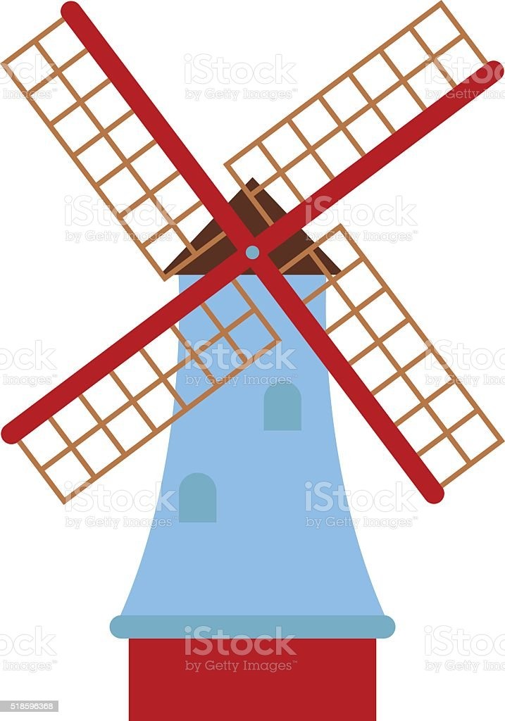 Traditional old windmill building color painted farm concept vector illustration vector art illustration