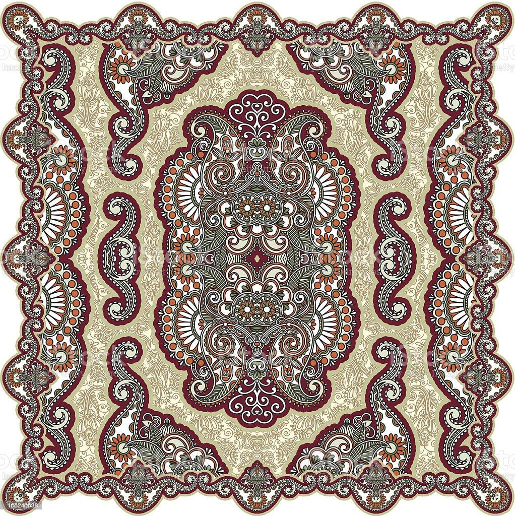Traditional ornamental floral paisley bandanna royalty-free stock vector art