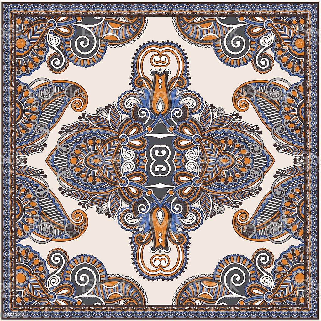 Traditional ornamental floral paisley bandanna. royalty-free stock vector art