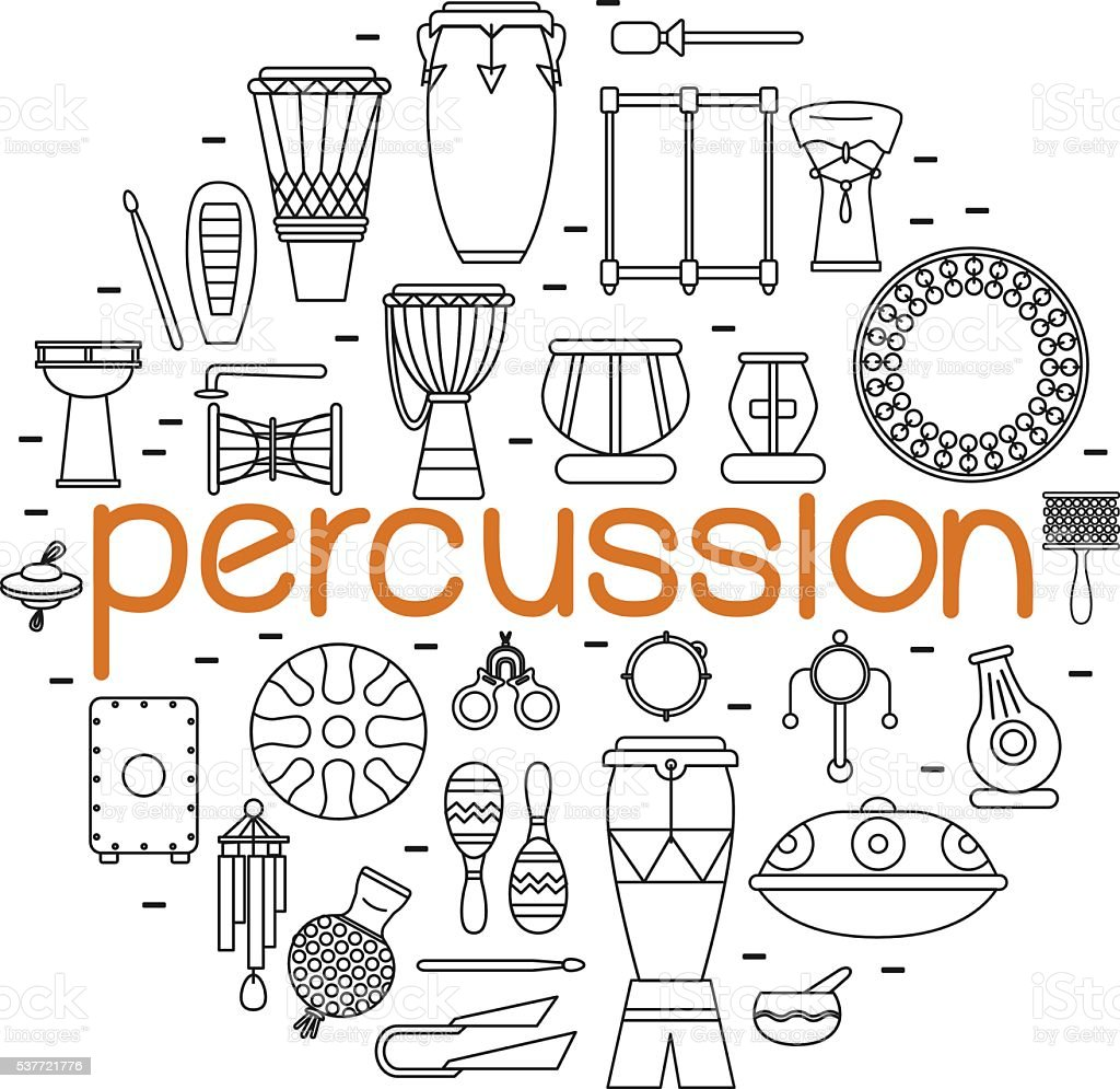 traditional percussion instruments vector art illustration