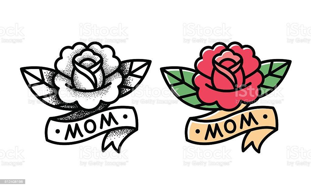 Traditional rose tattoo vector art illustration
