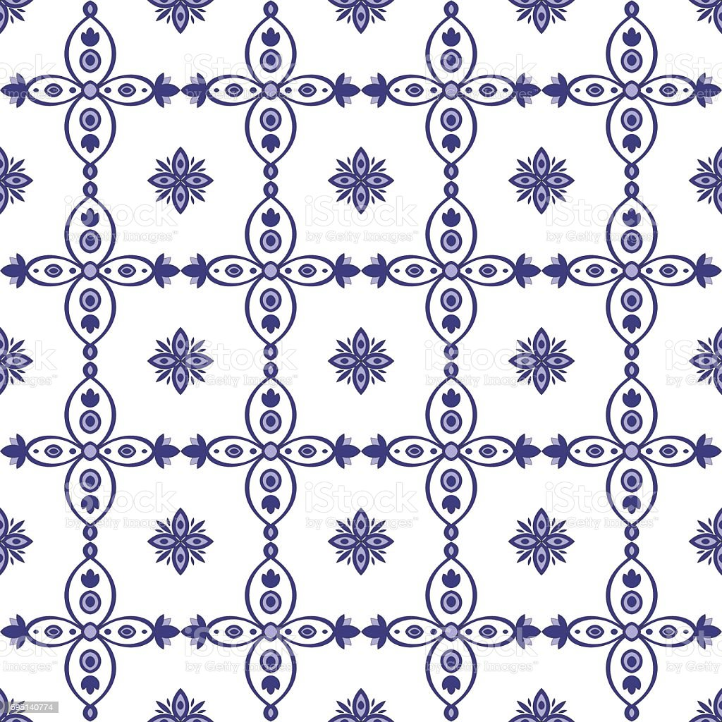 Traditional seamless tile pattern with Portuguese azulejos. vector art illustration