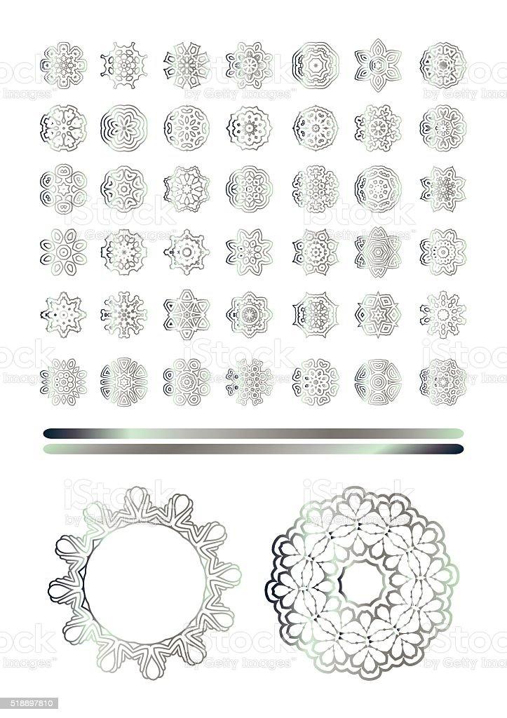 Traditional silver decor vector art illustration
