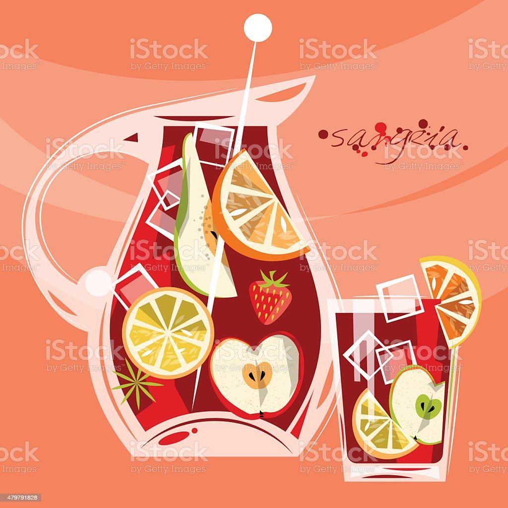 Traditional spanish drink. Sangria vector art illustration