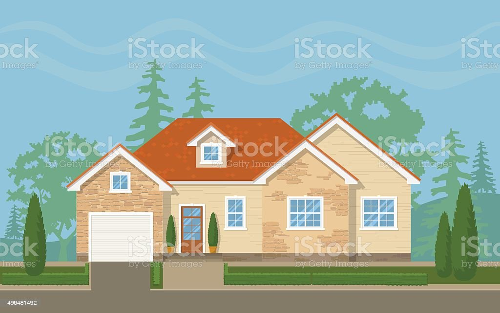 Traditional suburban house vector art illustration