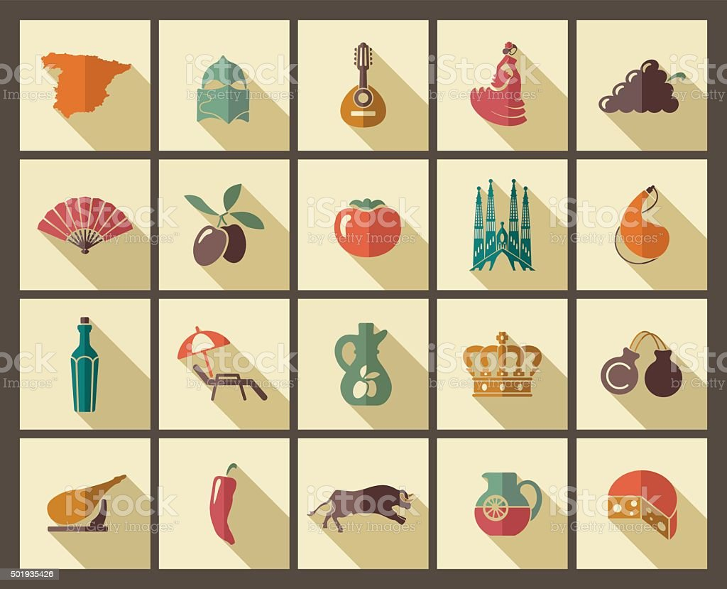 Traditional symbols of Spain vector art illustration