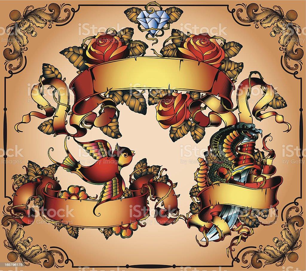 traditional tattoo flash set vector art illustration