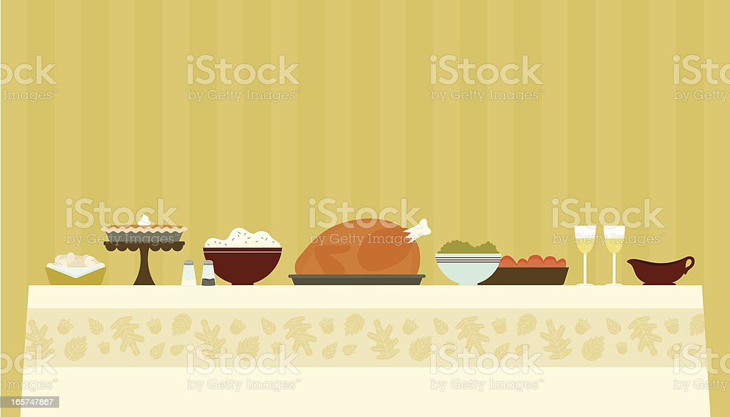Traditional Thanksgiving Dinner vector art illustration