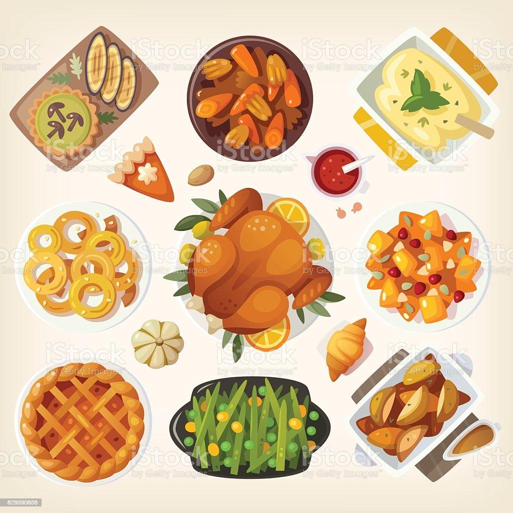Traditional thanksgiving dinner vector art illustration