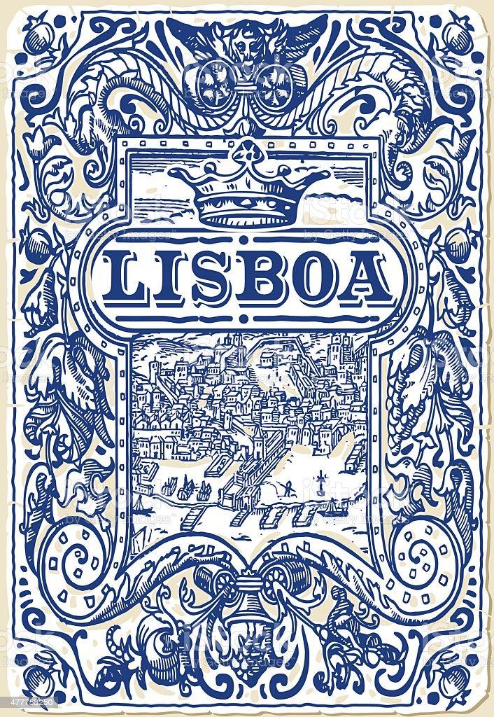 Traditional Tiles Azulejos Lisboa Portugal vector art illustration