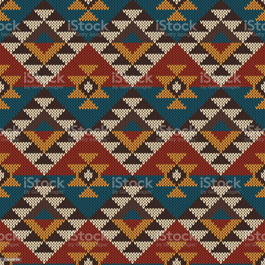 Traditional Tribal Aztec seamless pattern on the wool knitted texture vector art illustration