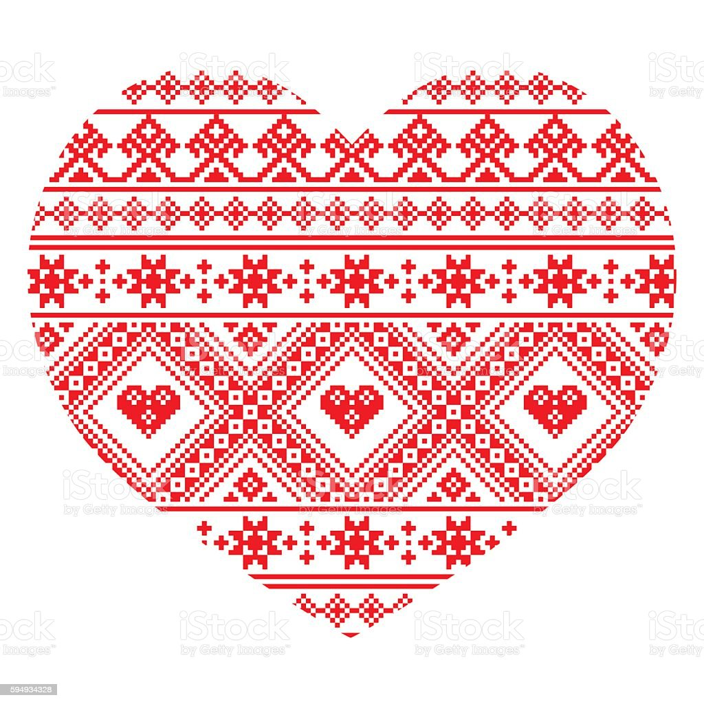 Traditional Ukrainian folk art heart knitted red embroidery pattern vector art illustration