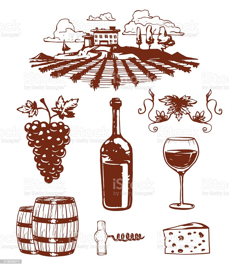 Traditional vinery farm production with grape press and red wine vector art illustration