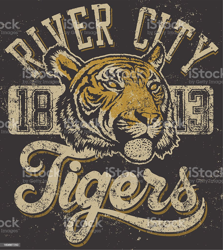 Traditional Vintage Tiger Mascot Design vector art illustration