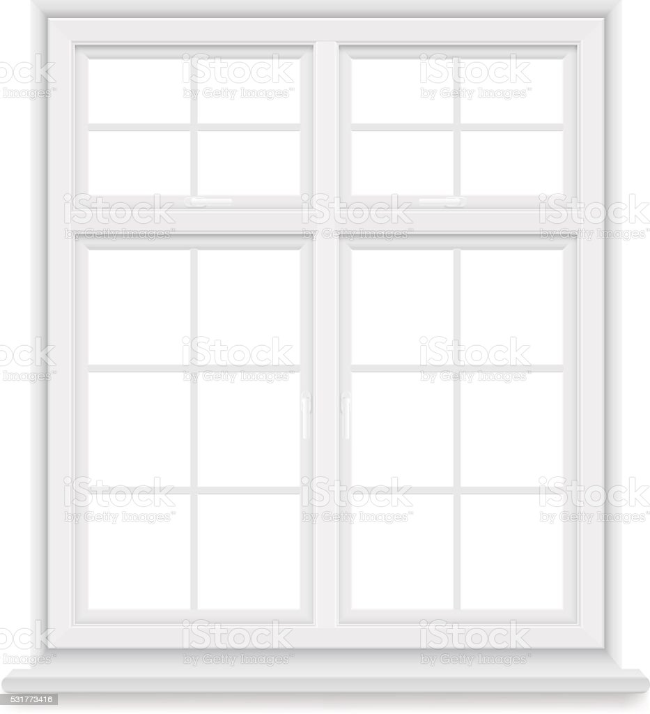 traditional white window isolated vector art illustration