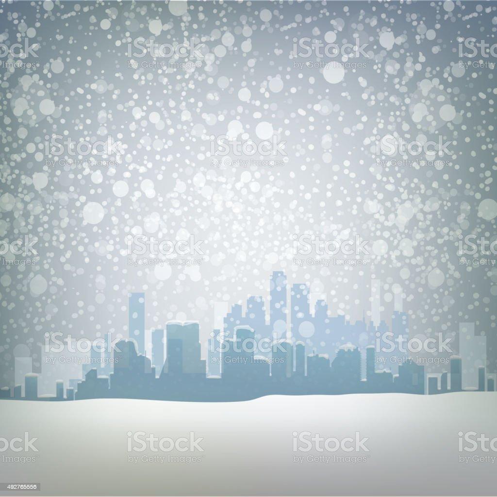 Traditional winter urban outdoor illustration with snow vector art illustration