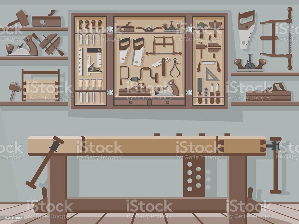 Traditional Woodworking Workshop vector art illustration