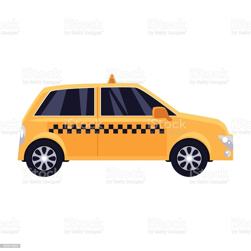 Traditional yellow taxi with checker pattern vector art illustration
