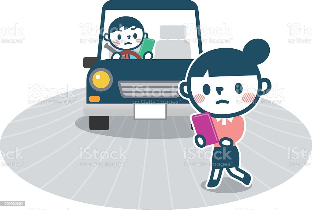 Traffic accidents caused by look away vector art illustration