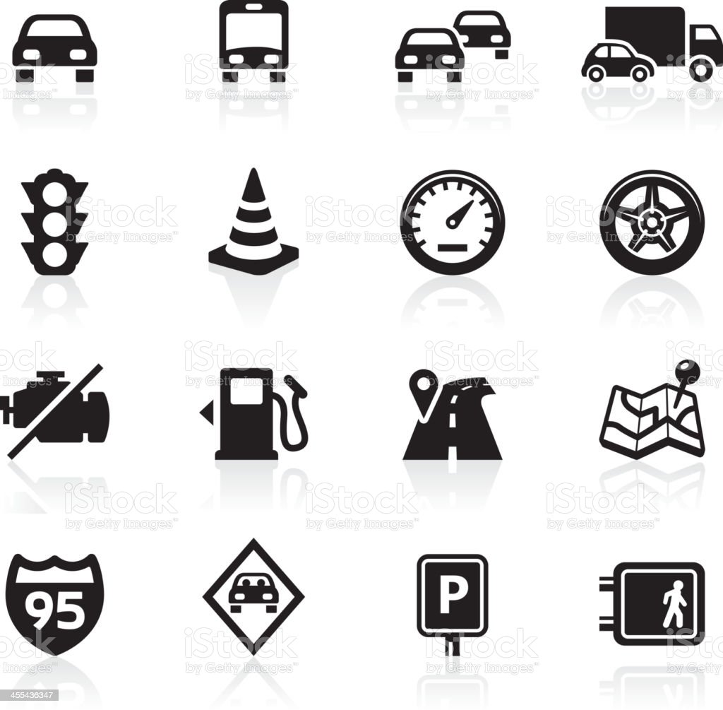 Traffic and driving icons vector art illustration