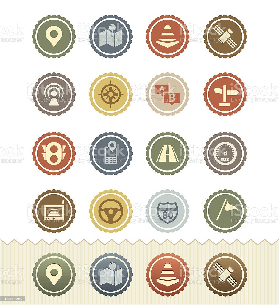 Traffic and Navigation Icons : Vintage Badge Series royalty-free stock vector art
