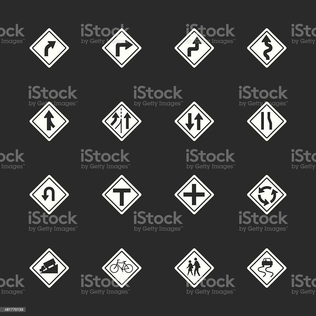 Traffic And Road Sign Icons - White Series   EPS10 vector art illustration