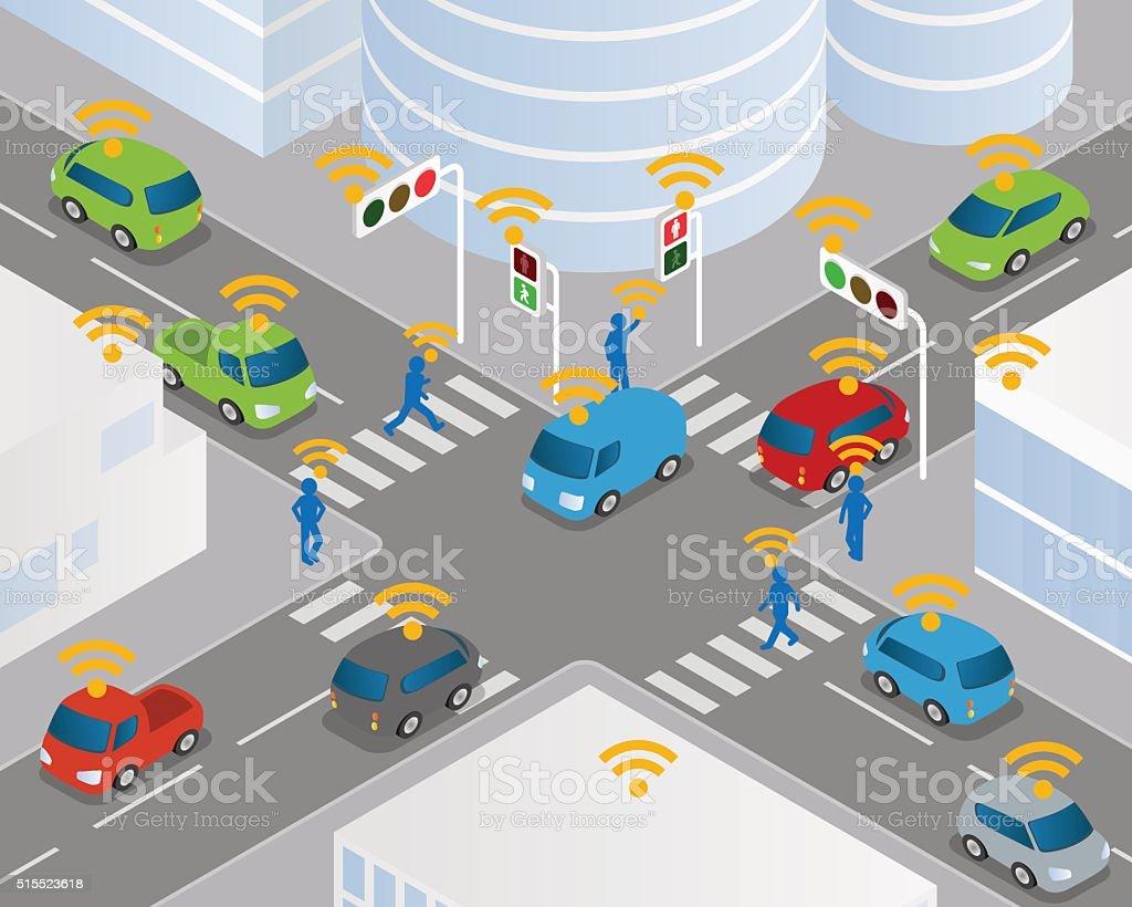 Traffic and wireless network, Intelligent Transport Systems vector art illustration