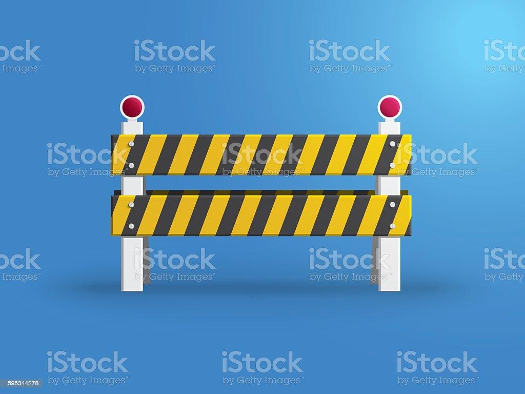 Traffic barrier on blue background vector art illustration