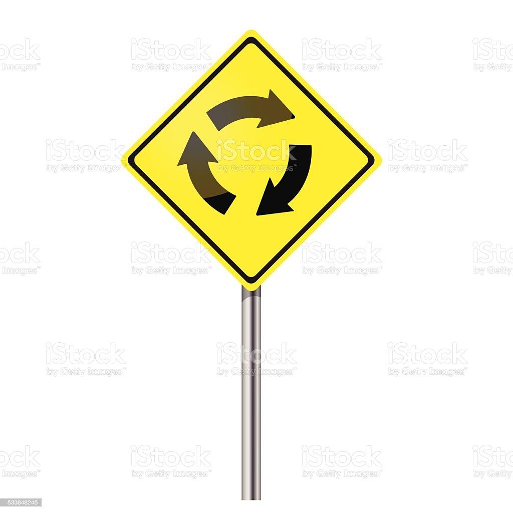 Traffic circle vector road sign vector art illustration