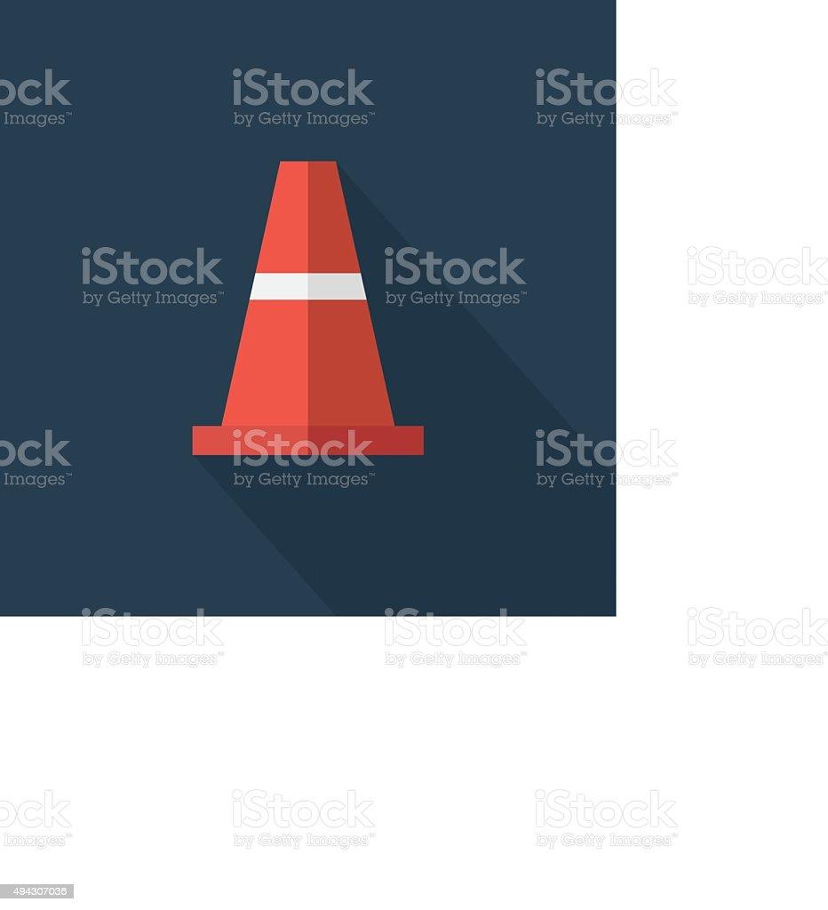 Traffic cone , Flat design style, vector illustration. long shad vector art illustration