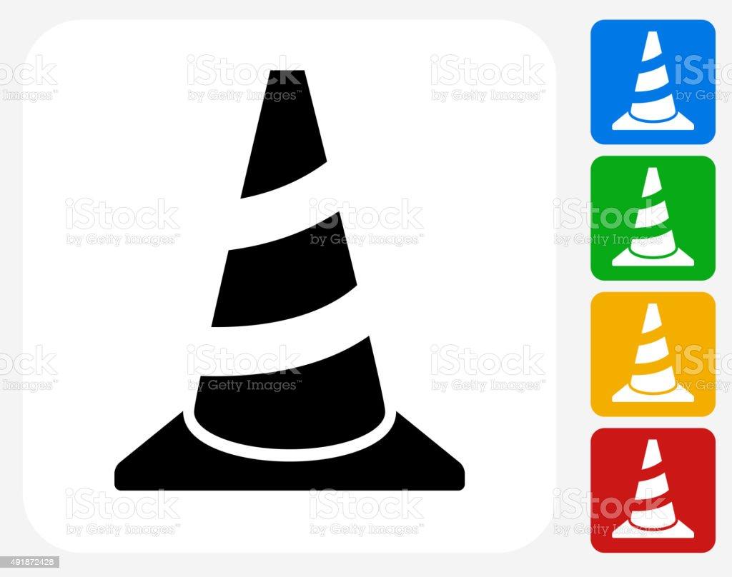 Traffic Cone Icon Flat Graphic Design vector art illustration