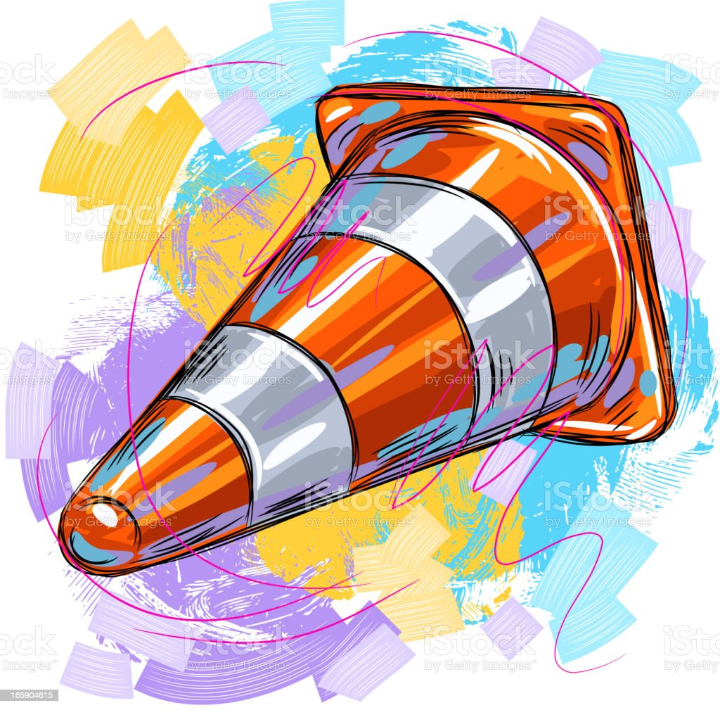 Traffic cone vector art illustration