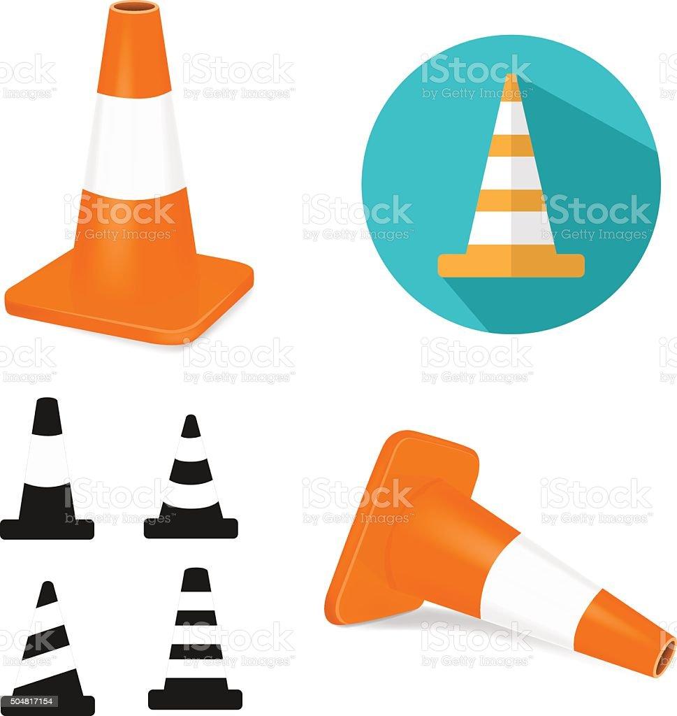 Traffic cones vector art illustration