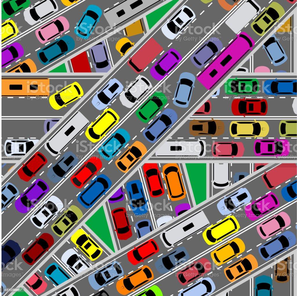 Traffic congestion on roads vector art illustration