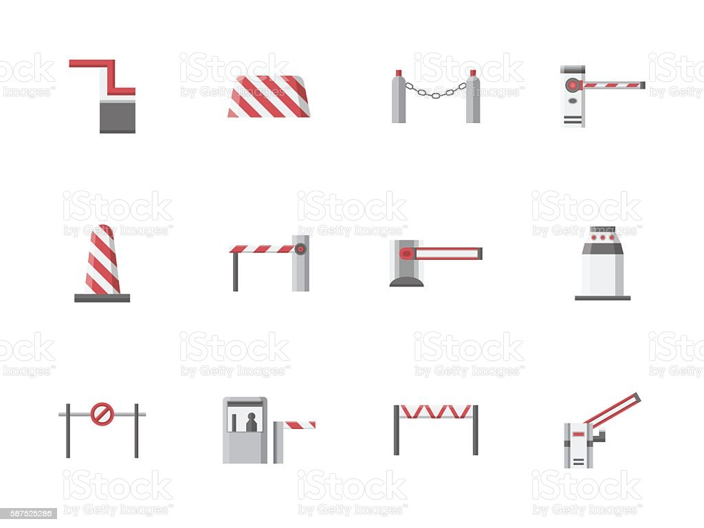 Traffic gates flat color vector icons vector art illustration