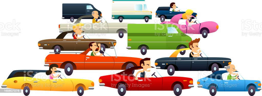 Traffic jam full of angry people vector art illustration