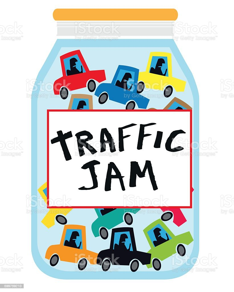 Traffic Jam in the morning vector art illustration