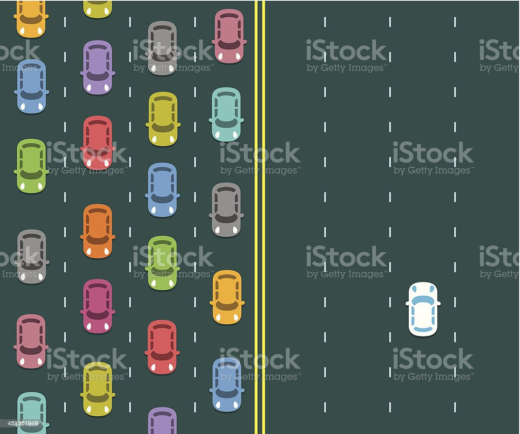 Traffic jam on a highway royalty-free stock vector art