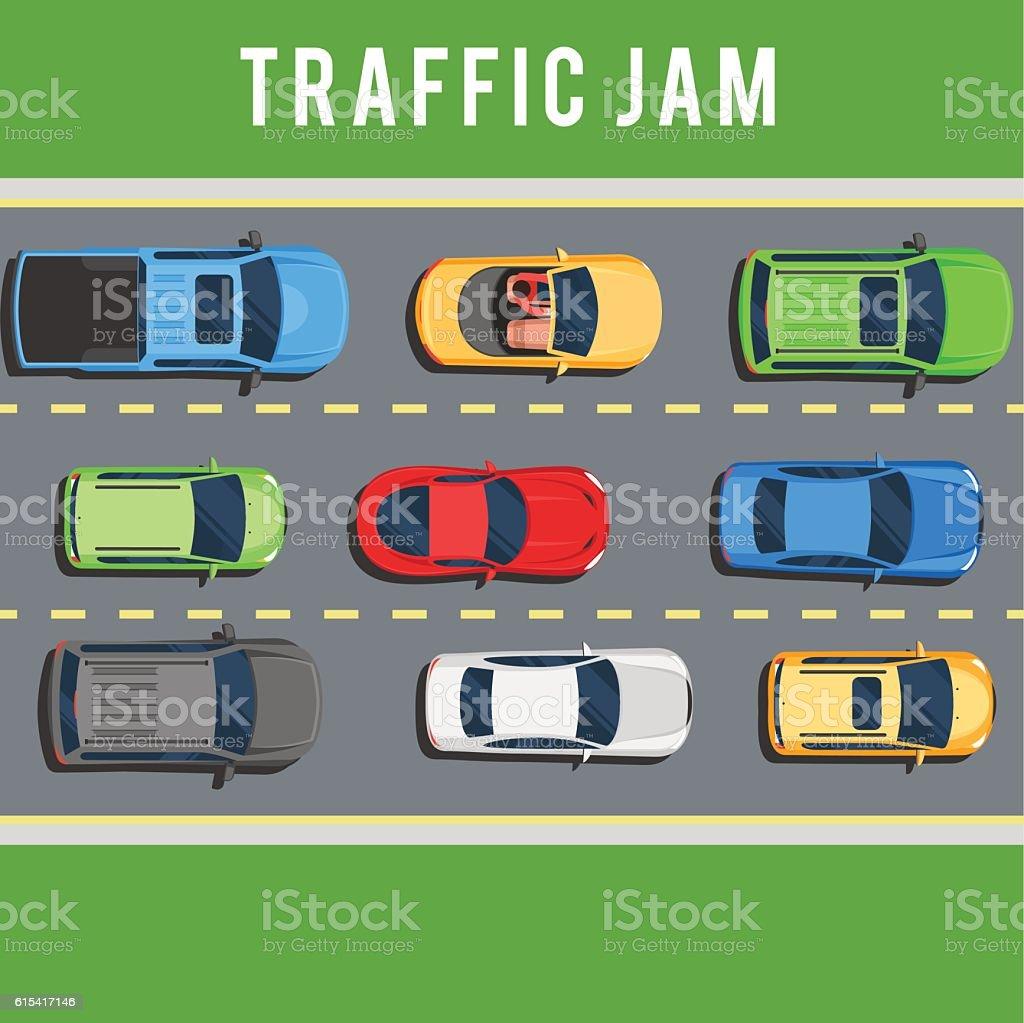Traffic jam on road vector art illustration