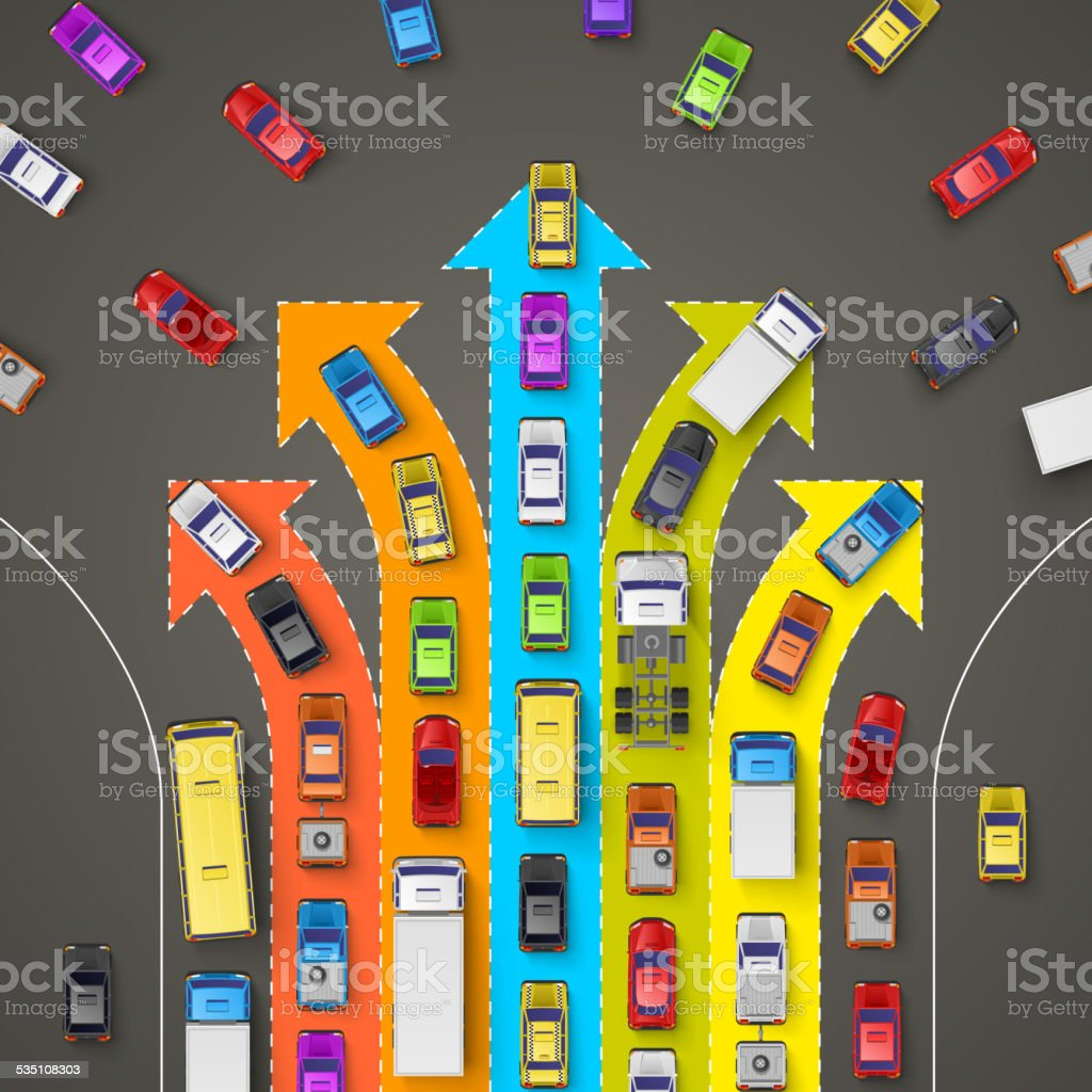 traffic jam with directional arrows vector art illustration