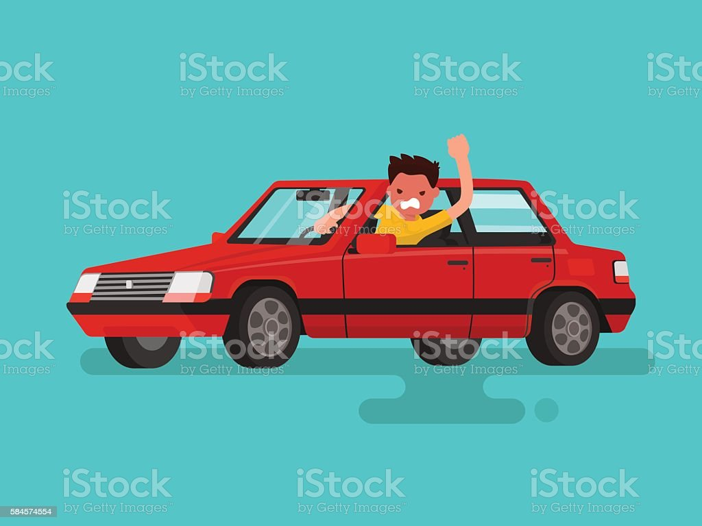 Traffic jams. Angry man swears in the car. Vector illustration vector art illustration