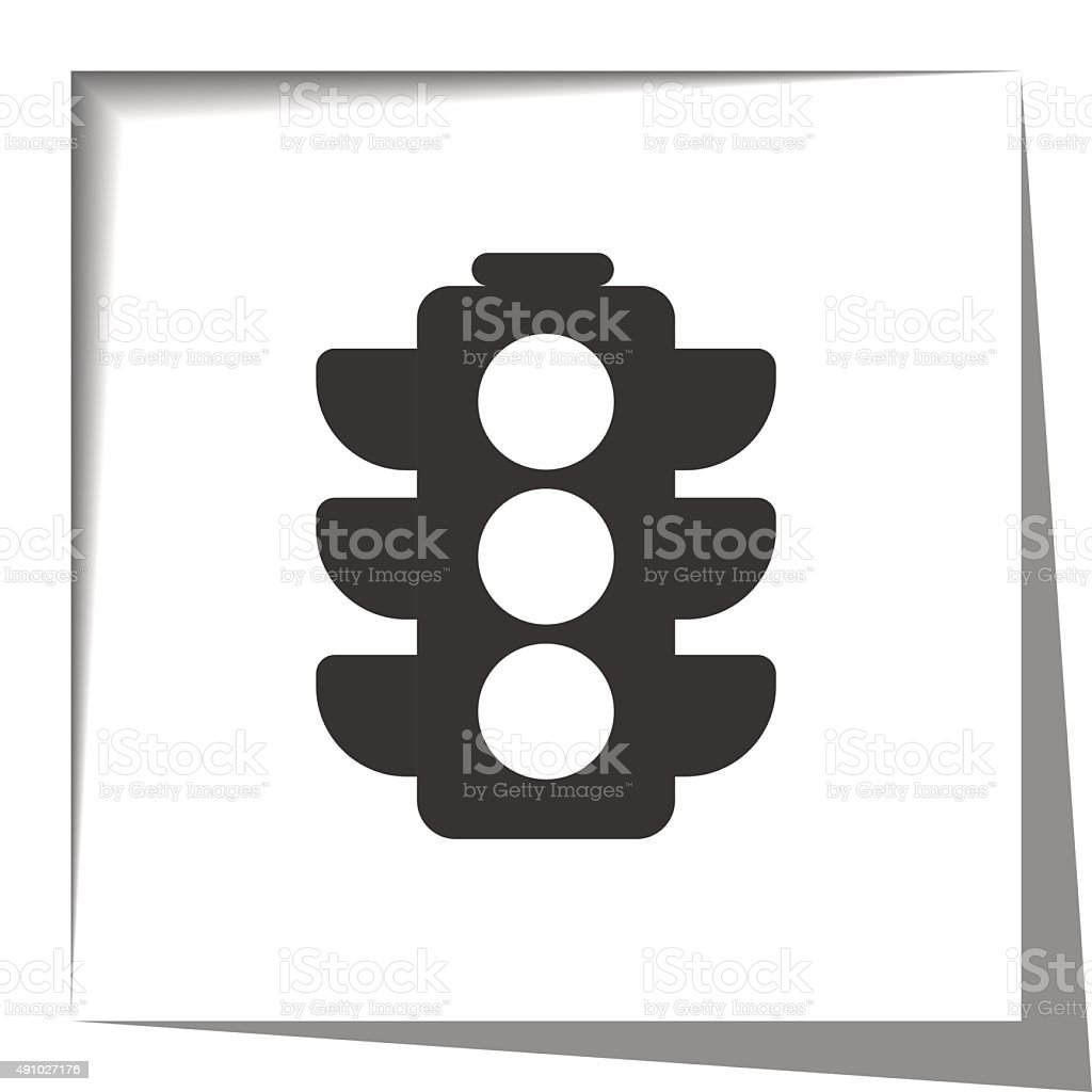 Traffic Light icon with cut out shadow effect vector art illustration