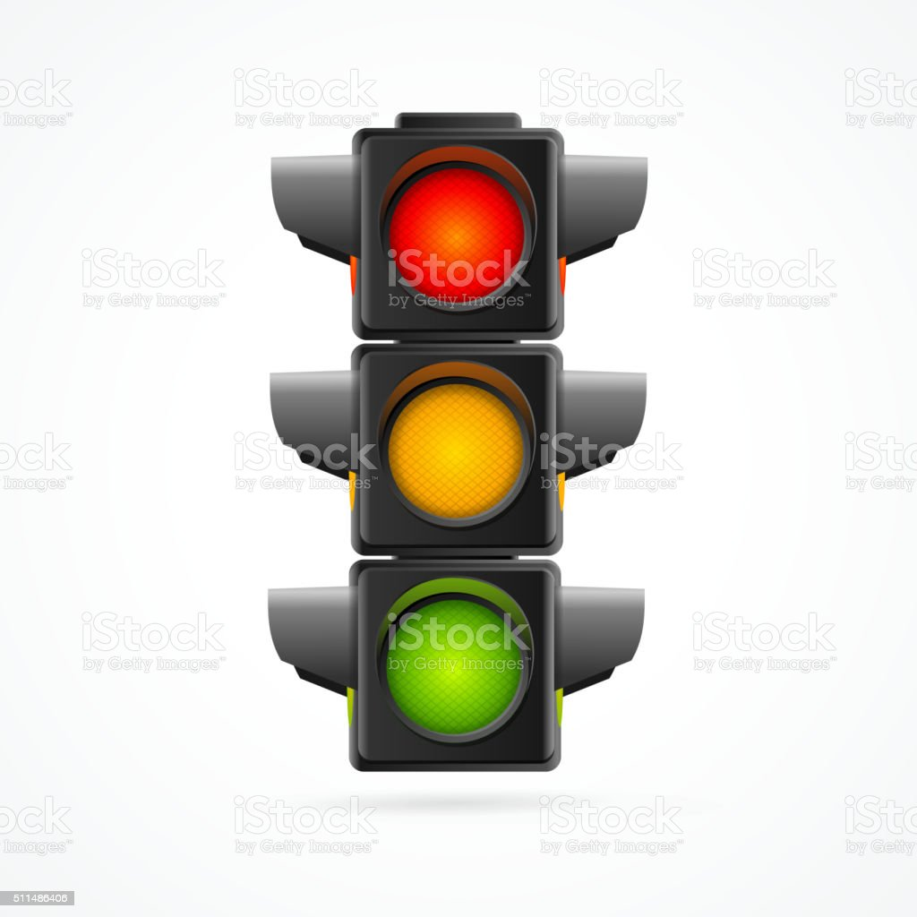 Traffic Lights Realistic. Vector vector art illustration