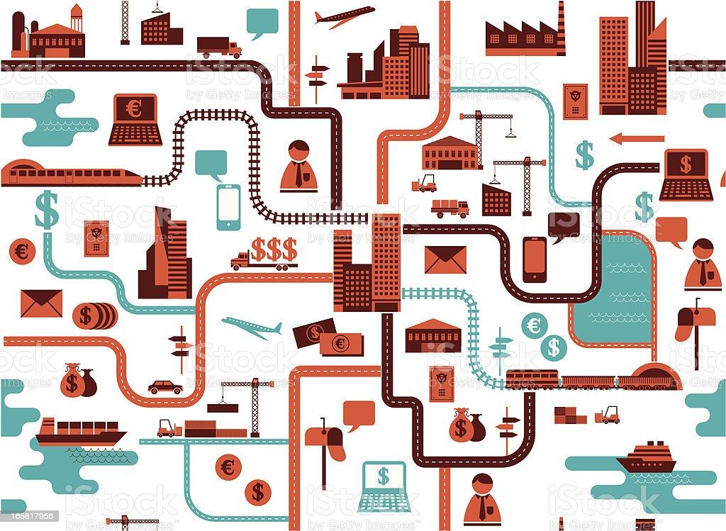 traffic map vector art illustration