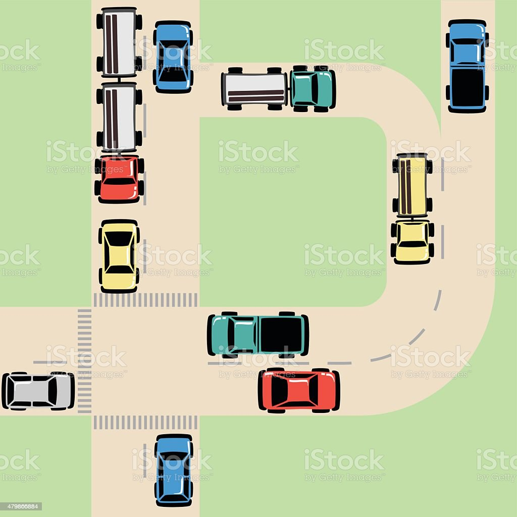 Traffic Map with Cars and Trucks on Road at Intersection vector art illustration