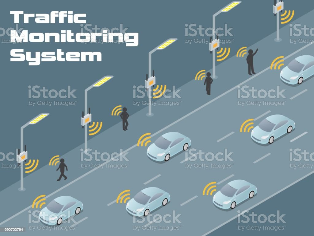 traffic monitoring system diagram, detecting vehicles and pedestrians by sensor and wireless communication, autonomous car vector art illustration